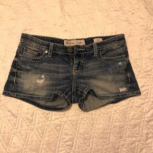 Buckle denim jean shorts